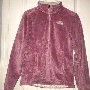 EUC pink north face fleece jacket